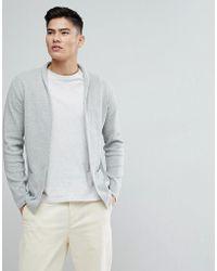 Mango - Man Flecked Cotton Blend Cardigan In Grey - Lyst