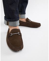 ASOS - Driving Shoes In Brown Suede With Snaffle - Lyst