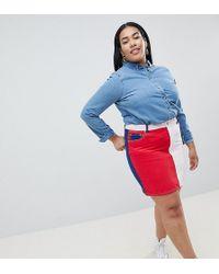 ASOS - Asos Design Curve Denim Original Skirt In Color Block - Lyst