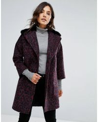 Helene Berman - Wool Blend Revere Teddy Fur Collar Coat - Lyst