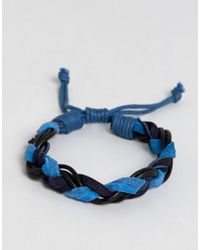 Jack & Jones - Leather Woven Bracelet - Lyst