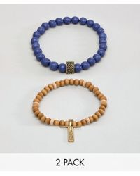 Icon Brand - Grey Beaded Combo Bracelets In 3 Pack - Lyst