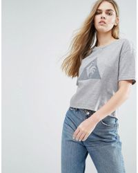 Le Coq Sportif - Cropped T-shirt With Large Logo - Lyst
