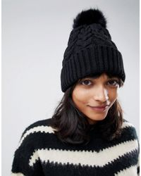 ASOS - Cable Faux Fur Pom Beanie In Recycled Polyester - Lyst