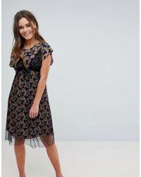 Hazel Floral Print Midi Dress With Mesh Overlay - Black