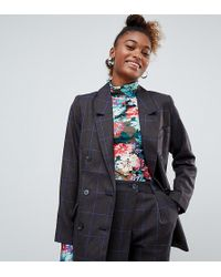 Monki - Two-piece Check Double Breasted Blazer In Gray - Lyst
