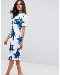 ASOS   Wiggle Dress In Blue Floral   Lyst