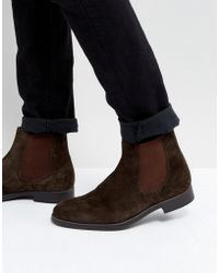 Dune - Chelsea Boots In Brown Suede - Lyst