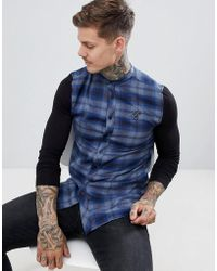 SIKSILK - Grandad Collar Check Shirt In Blue With Jersey Sleeves - Lyst