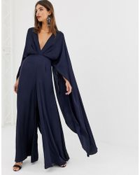 ASOS - Cape Sleeve Jumpsuit In Satin - Lyst