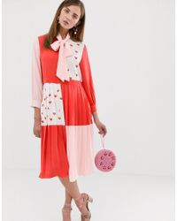 Sister Jane - Midi Dress With Pussybow In Heart Print Color Block - Lyst