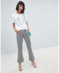 Mango - Mono Stripe Kickflare Jean In Black And White - Lyst