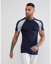 ASOS DESIGN - Asos Muscle T-shirt With Interest Fabric Shoulder Panels In Navy - Lyst