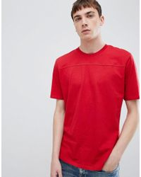 SELECTED - T-shirt With Cut And Sew Panel Detail - Lyst