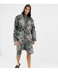River Island - Satin Dressing Gown In Green Baroque - Lyst