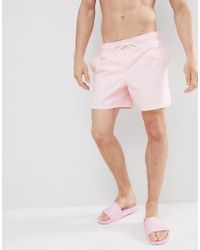 Hollister - Magic Print Guard Swim Shorts Flamingos Come Out When Wet In Pink - Lyst