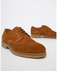 River Island - Suede Brogues With Sole Detail In Tan - Lyst
