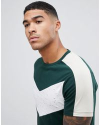 ASOS - T-shirt With Contrast Chevron Panel In Interest Fabric In Khaki - Lyst