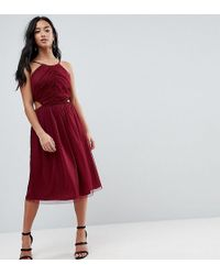 ASOS - Dobby High Neck Midi Dress With Cut Out Sides - Lyst