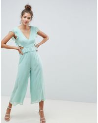 ASOS - Design Cut Out Jumpsuit With Soft Ruffles - Lyst