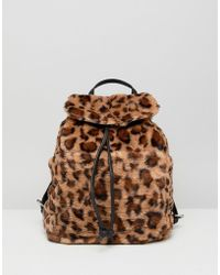 Stradivarius - Leopard Faux Fur Backpack - Lyst