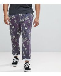 ASOS DESIGN - Asos Plus Slim Cropped Pants In Vintage Washed Out Leaf Print - Lyst