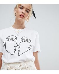 Reclaimed (vintage) - Inspired T-shirt With Kissing Faces Print - Lyst