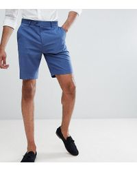 ASOS - Design Tall Mid Length Smart Shorts In Pale Blue - Lyst
