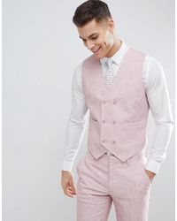 ASOS - Wedding Skinny Suit Waistcoat In Pink Cross Hatch With Printed Lining - Lyst