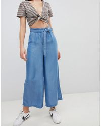Pimkie - Chambray Wide Leg Cropped Trousers - Lyst