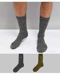 Lyle & Scott - 2 Pack Plain Socks In Green/black - Lyst