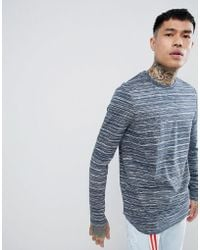ASOS - Longline Long Sleeve T-shirt With Curve Hem In Blue Inject - Lyst