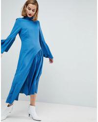 Lyst - Boohoo Colour Block Raw Hem Sweatshirt Dress bd2fe76c9