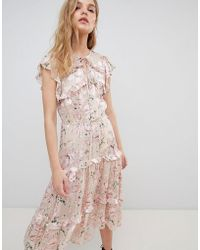 RahiCali - Floral Midi Dress In Silk Burnout - Lyst