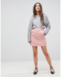 ONLY - A-line Leather Look Skirt - Lyst
