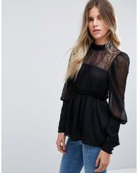 ASOS - Design Lace Mix Smock Blouse - Lyst