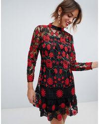 ASOS - Contrast Lace Mini Dress With Pep Hem - Lyst