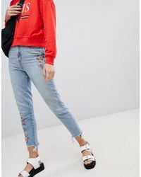 New Look - Embroidered Mom Jeans - Lyst