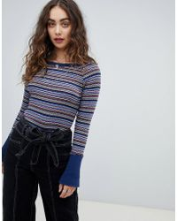 Free People - Donna Striped T-shirt With Button Sleeve - Lyst