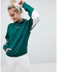 adidas Originals - Adidas Eqt Hoodie With Stripe Sleeves In Green - Lyst