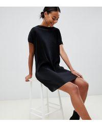 419c9ddd3e3 ASOS - Asos Design Tall Slash Neck T-shirt Dress In Plisse - Lyst