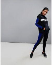 South Beach - Stripe Gym Legging In Black And Blue - Lyst