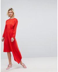 Warehouse - Asymmetric Hem Midi Dress - Lyst
