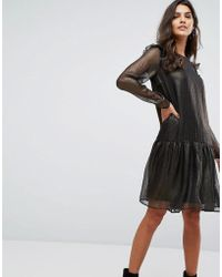 Y.A.S - Metallic Smock Dress - Lyst