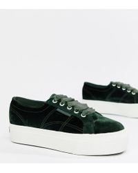 Superga - Platform Sneakers In Jade Velour - Lyst
