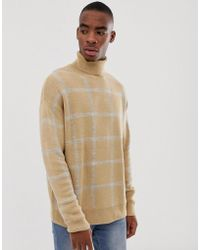 Bershka - Knitted Roll Neck Jumper In Camel With Grey Check - Lyst