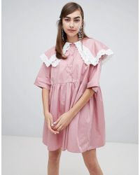 Sister Jane - Smock Dress With Double Layer Bib And Contrast Lace Trim - Lyst