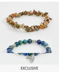 Reclaimed (vintage) - Beaded Bracelet Pack With Semi Precious Stones And Cross In Navy - Lyst