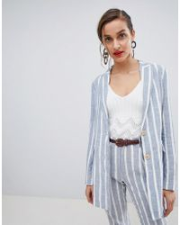 Mango - Stripe Double Breasted Relaxed Blazer - Lyst