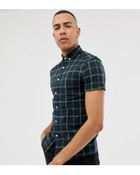 ASOS - Tall Skinny Fit Check Shirt In Navy - Lyst